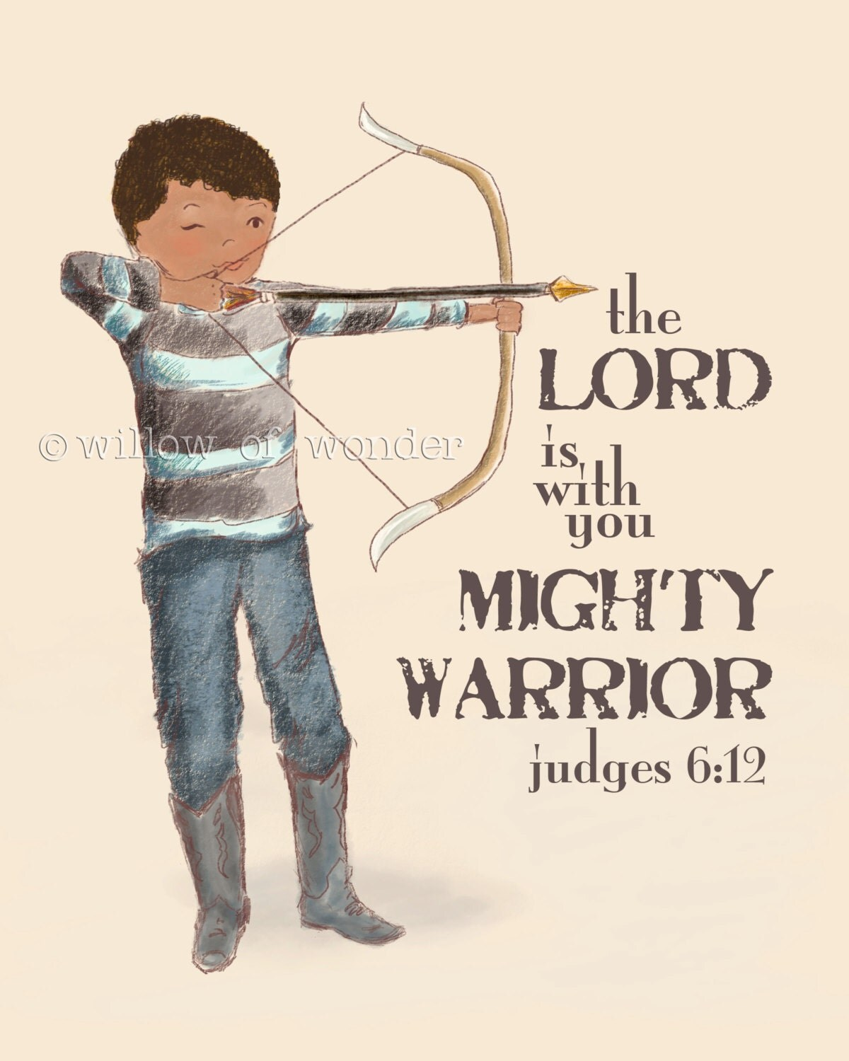 Mighty Warriors In The Bible: Archery Boy Scripture Art Print