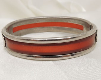 Vintage Cuff Bracelet with Red Inlay