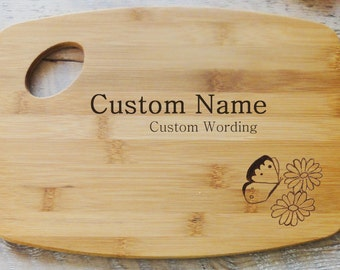 Personalized Butterfly Floral Cutting Board