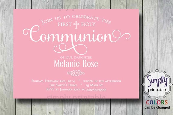 Pink Girls Baptism or Communion Invite