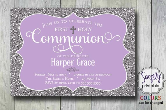 Baptism/Communion Invitation - Purple Glitter