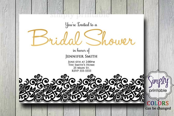 Black & Gold Bridal Shower Invite, Bridal Shower Invitation, Digital Printable