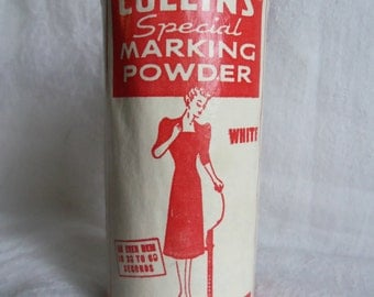Vintage Sewing Hem Marking Powder by Collins Advertising Tin Unopened