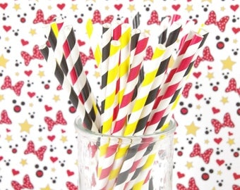 Mickey Minnie Mouse Paper Straws - Set of 25 Straws - Birthday Party - First Birthday