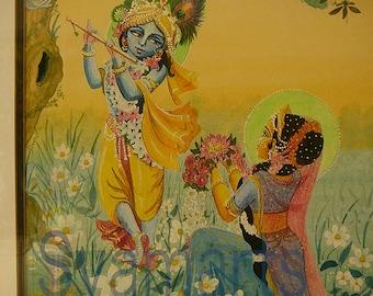 Divine couple Radha Krishna watercolour painting saffron yellow aqua sunrise true love vrindavana devotional art drawing Syamarts