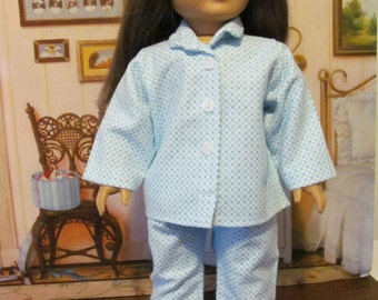 Doll Pajamas, Flannel Pajamas, Sleepwear,  18 inch  Doll Clothes