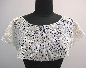 Hand Beaded White Guipure Lace Collar Circa 1970's
