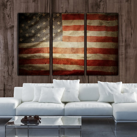 Vintage american flag on canvas 3 panel set by holycowcanvas for Painted american flag wall art