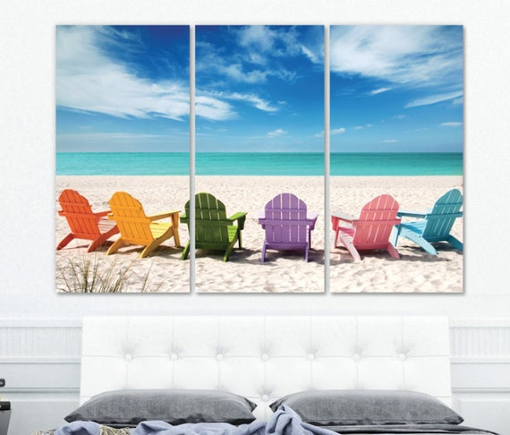 Beach Ocean Wall Decor : Large beach wall art on canvas mural ocean