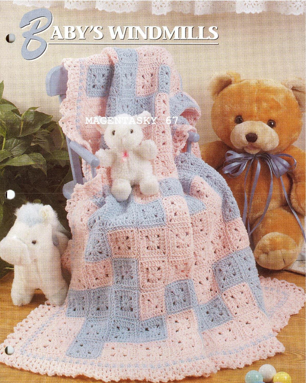Vintage Crochet Patterns Baby Blankets : Vintage crochet pattern baby afghan blanket throw shawl