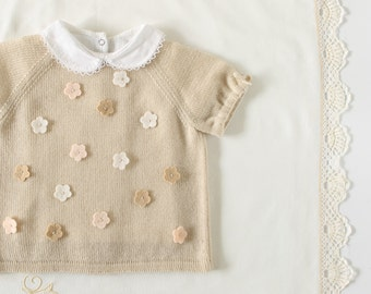 Knitted baby sweater, newborn knits, pearl, 100% merino wool. Baby gift. READY to SHIP size 1-3 months.