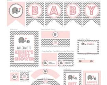 Elephant Baby Shower - Printable Party Decor
