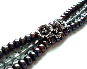 Peacock black pearl flower bracelet triple strand SMALL FIT, Hill Tribe Silver flower charms, grey crystal, freshwater pearls, pearl jewelry