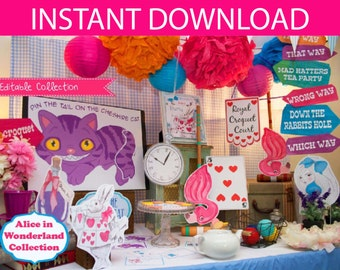 Alice in Wonderland Party Decorations  & Games Printable Kit - INSTANT DOWNLOAD