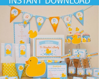 Rubber Duck Baby Shower DIY Printable Kit - INSTANT DOWNLOAD -