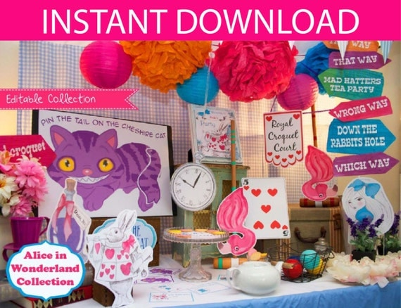 Alice in wonderland party decorations games printable kit - Alice in the wonderland party decorations ...
