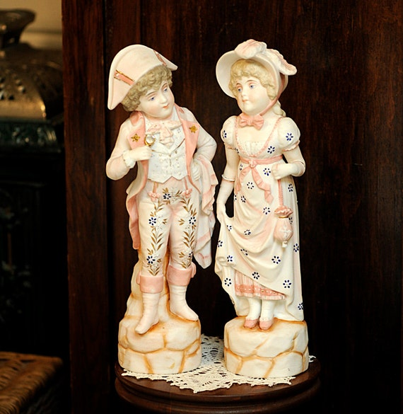 "Antique Bisque Porcelain 14"" Tall Boy & Girl Figurines Statues Regency Style"