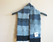 Long grey black  tube scarf made from recycled sweaters--winter fashion--uni-sex--women's scarf--men's scarf
