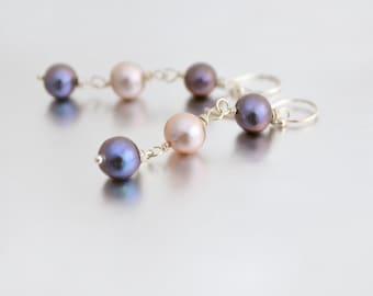 Light Pink and Purple Freshwater Pearl Earrings, Argentium Sterling Silver Hoops, June Birthstone