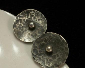 Sterling silver post/studs earrigs. Metalwork earrings, recycled silver jewelry.