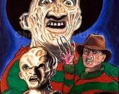 Nightmare on Elm Street - Many Faces of FREDDY Art Print (11x17)