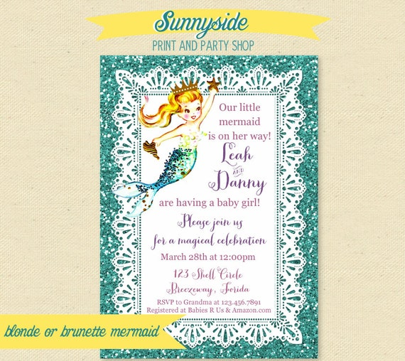 mermaid baby shower invitation printable mermaid baby shower invite