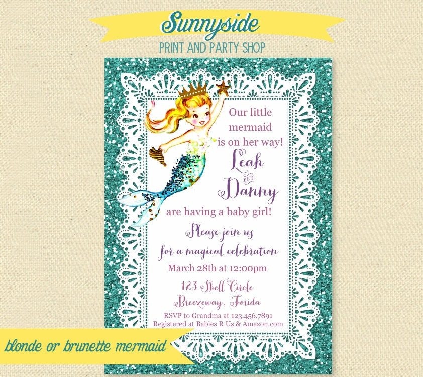 mermaid baby shower invitation printable mermaid baby shower