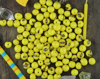 Zesty Yellow: Real, Natural Acai Beads / South American Eco- Beads / 10mm, 100 beads / Bright, Sunny, Large Hole / Jewelry Making Supply