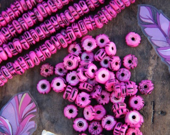 Bright Pink Rondelle : Hand Carved Bone Beads, 4x10mm, 60 Large Hole beads, Stained, Painted Cow Bone, Craft, Jewelry Making Supply
