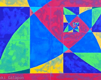 """Golden Rectangle on Canvas: original abstract geometric painting 24""""x36"""" primary and secondary colors red blue yellow green purple orange"""