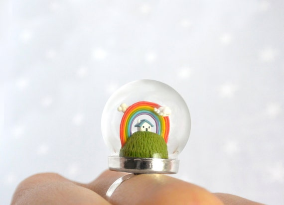 Spring Terrarium ring with tiny house and rainbow. Miniature under glass globe.