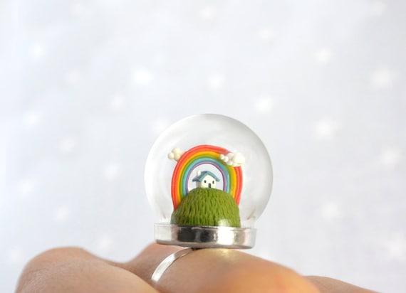 Terrarium ring with tiny house and rainbow. Original Christmas gift. Miniature under glass globe.