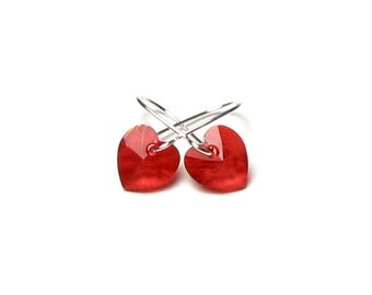 VALENTINE'S DAY Earrings, Red Heart Earrings, Red Swarovski Crystal Hearts, Dainty, Silver, Romantic, Valentine Jewelry, Gift For Sweetheart