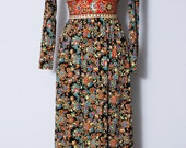 Reserved for Noemi // 1970s Floral Tapestry La Chat Maxi Dress / Size XS