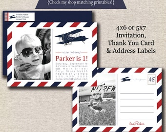 Vintage Airplane Invitation, Thank You Card, Return Address Label set - red and navy | Vintage Airplane Party Printables | Aviator Party