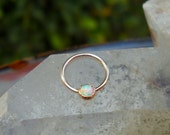 Nipple  Piercing - 14K Solid Rose Gold  White Opal - Nipple Jewelry - Septum Ring - Conch Ring - Nipple Ring
