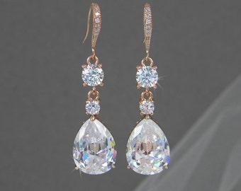 Rose Gold Bridal Earrings, Crystal Wedding earrings, Long Bridal earrings, Bridesmaid earrings, Rose Gold Wedding Jewelry,  Trina Earrings