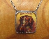 Ever Faithful St. Bernard Dog Necklace Sterling Silver and Shrink Plastic Equestrian Jewelry