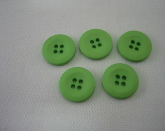 """Green Buttons,  Lot of 5,  satin finish 4 hole, SIZE 3/4"""""""