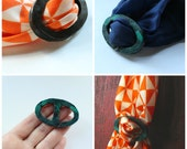 Double Sided Scarf Ring, Faux Turquoise, Faux Stone, Polymer Clay,