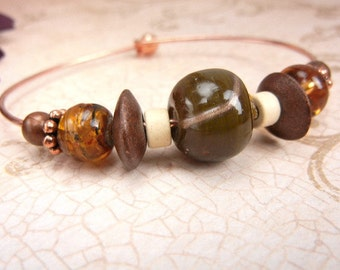 Copper bangle bracelet with olive green ceramic, brown & white beads // natural elements