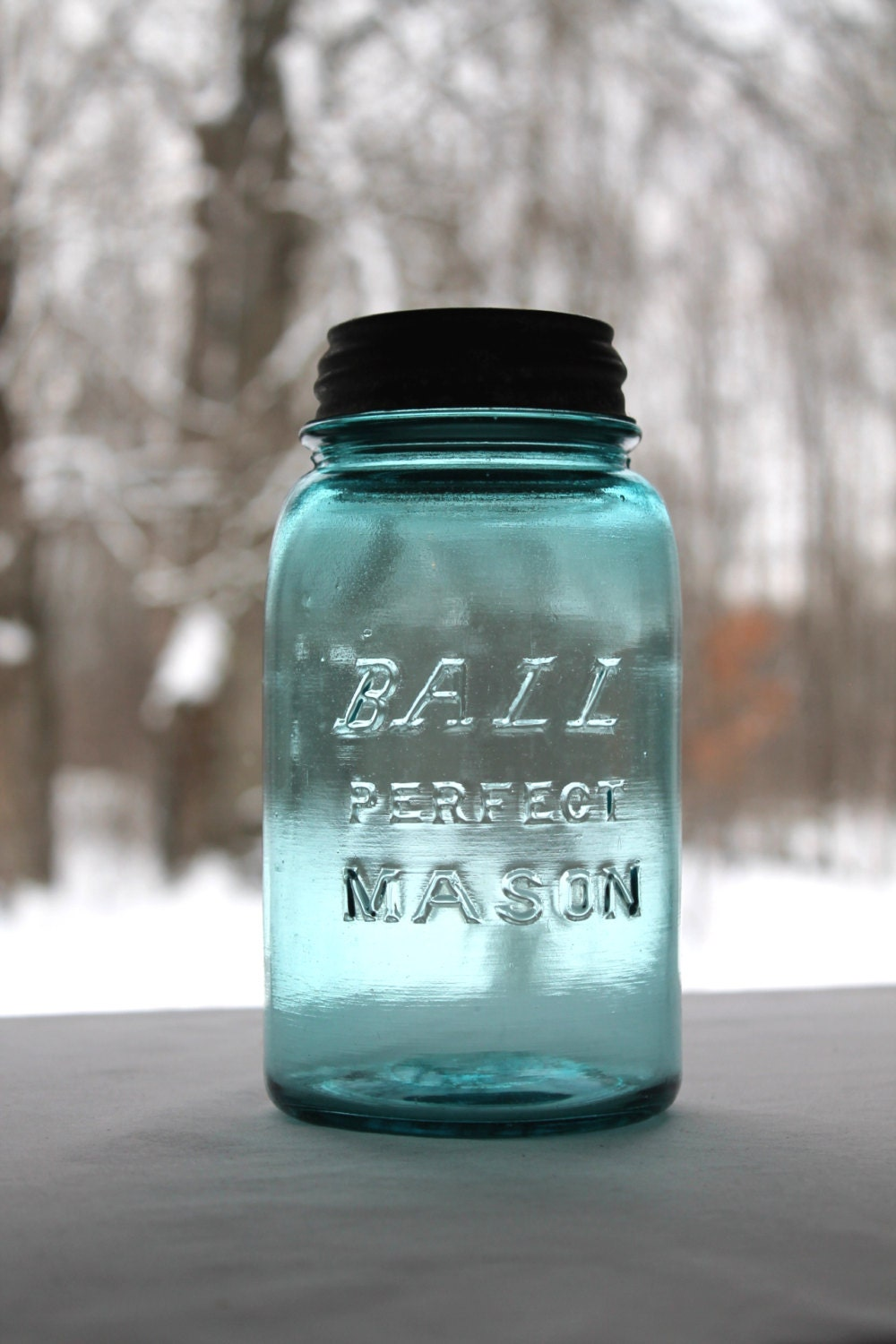 Antique Aqua Ball Mason Quart Jar With Italic By