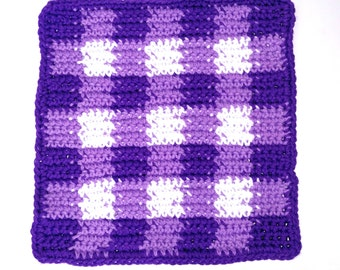 Purple Plaid Dishcloth