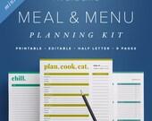 Mini Meal Menu Planning Kit – Editable, Half Letter Size Shopping List, Price Matching, Weekly Menu, Kitchen Organization / PDF Printables