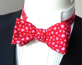 Bowtie - mens,  pink hearts, freestyle bow tie for men, self tie - adjustable in this fabulous cotton fabric.