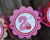 Personalized Happy Birthday Banner -Gingerbread Girl -Photo Prop -Gingerbread House -Pink -Red -Christmas -Holiday Banner -1st Birthday