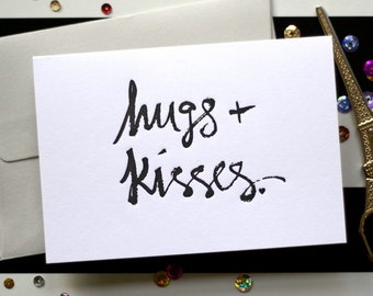 Love / Valentine / Anniversary/ Hugs and Kisses Brush Stroke Letterpress Card