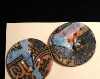Handmade porcelain buttons, Black graphic, Blue glaze, Sewing, Craft, Quilting, Weaving, Knitting, Designer, Unique, Ceramic,  (eb 270)