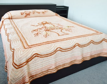 Vintage Chenille Bedspread Peach Apricot Tan Yellow Spring Flower Basket Scallops Full Size 1950's
