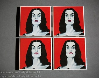 Set of Four Vampira Drink Coasters Horror Maila Nurmi Glamour Ghoul Ed Wood Plan 9 Outer Space Surreal Dark Jewel Tones Art by LadyAlchemy13